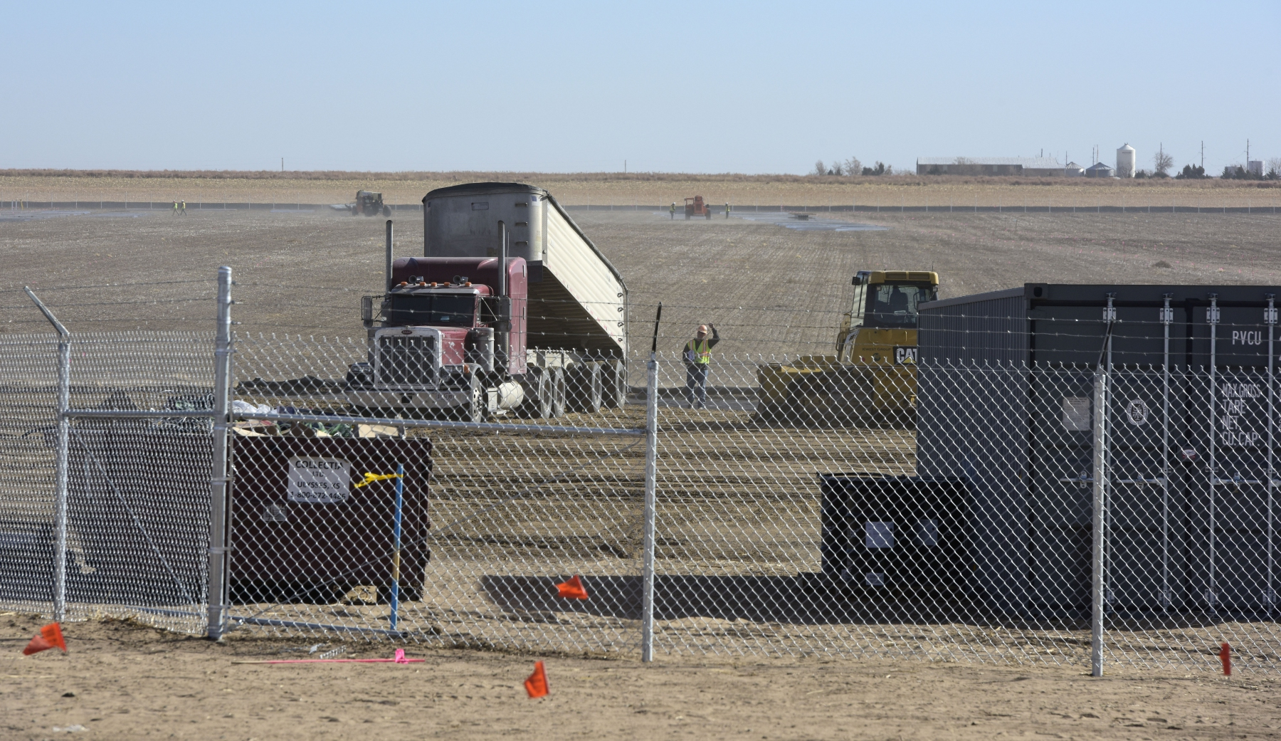 Workers continue preparing the site on 11-19-19 at the Johnson Corner Solar Project.