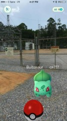 Singing River Electric's Lorri Freeman found a virtual Pokémon outside a co-op substation. (Photo By: Lorri Freeman/Singing River Electric)