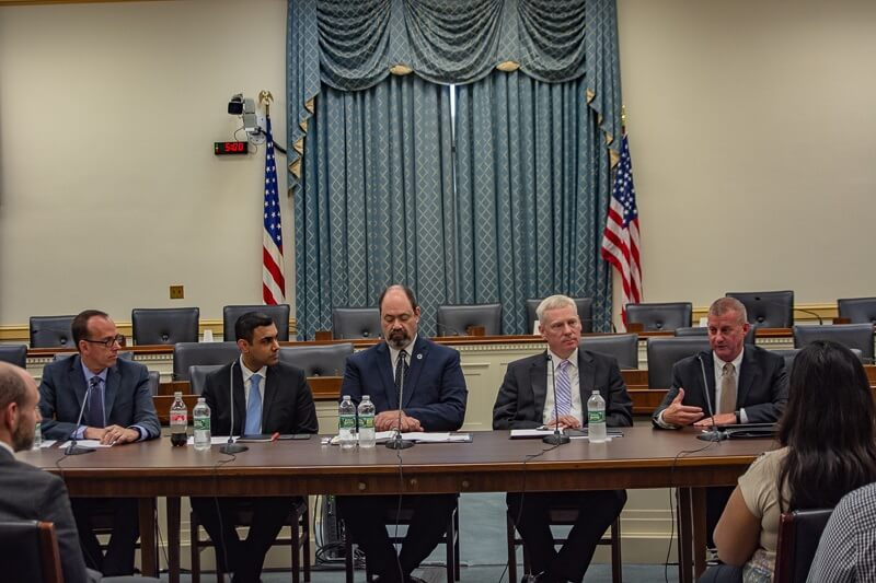 Cybersecurity experts (l-r) Barry Lawson of NRECA, Puesh Kumar of DOE, Ron Keen of DHS, Fritz Hertz of NERC and Ben Waldrep of Duke Energy discuss working together against cyberthreats at a congressional staff briefing kicking off National Cyber Security Awareness Month. (Photo By: NRECA)